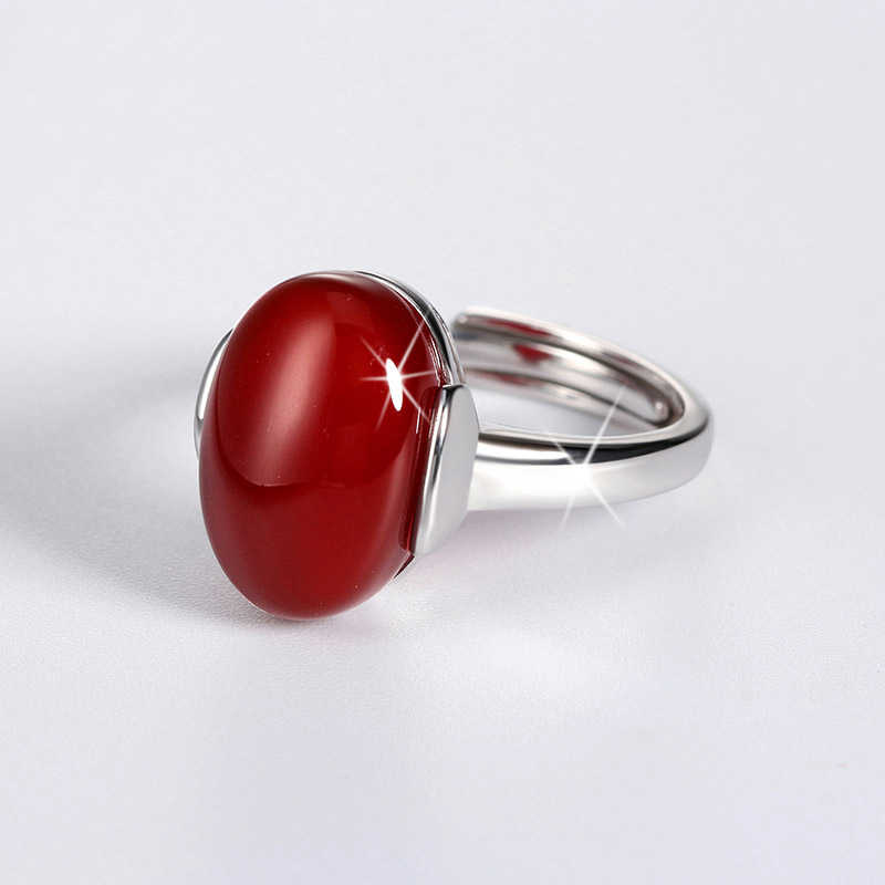 YINHEDแท้925เครื่องประดับเงินสเตอร์ลิงบิ๊กสีเขียว/สีแดงคริสตัลแหวนนิ้วที่สามารถปรับได้สำหรับผู้หญิงแหวนหมั้นZR303