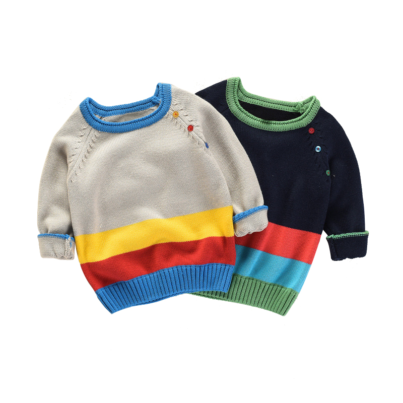 2018 new kids rainbow sweater age for 2 - 8 boys winter thick warm sweater baby autumn school long-sleeve knit tops with button crew neck long sleeve ombre knit blends sweater