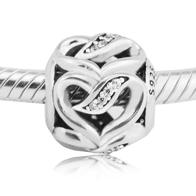 Ribbons of Love Beads Fits Pandora Charms Bracelets Beads For Jewelry Making 925 Sterling Silver 2017 Valentine's Day Beads