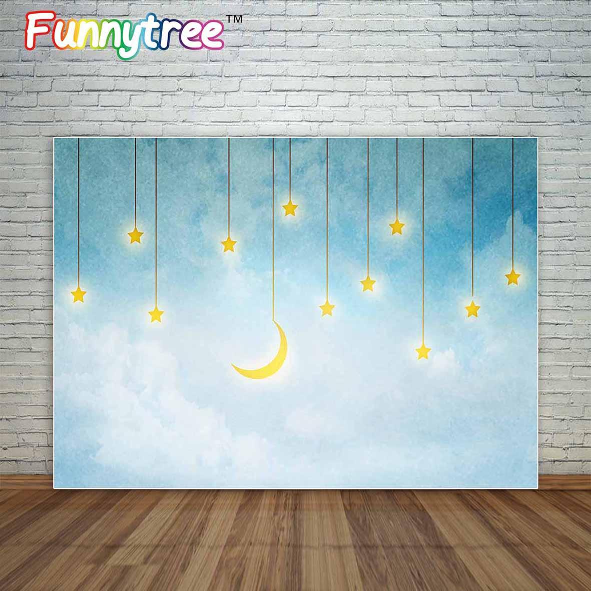 Allenjoy blue sky with shiny moon and stars backdrop in vintage style for baby newborn kids photographic background decorations blue sky чаша северный олень