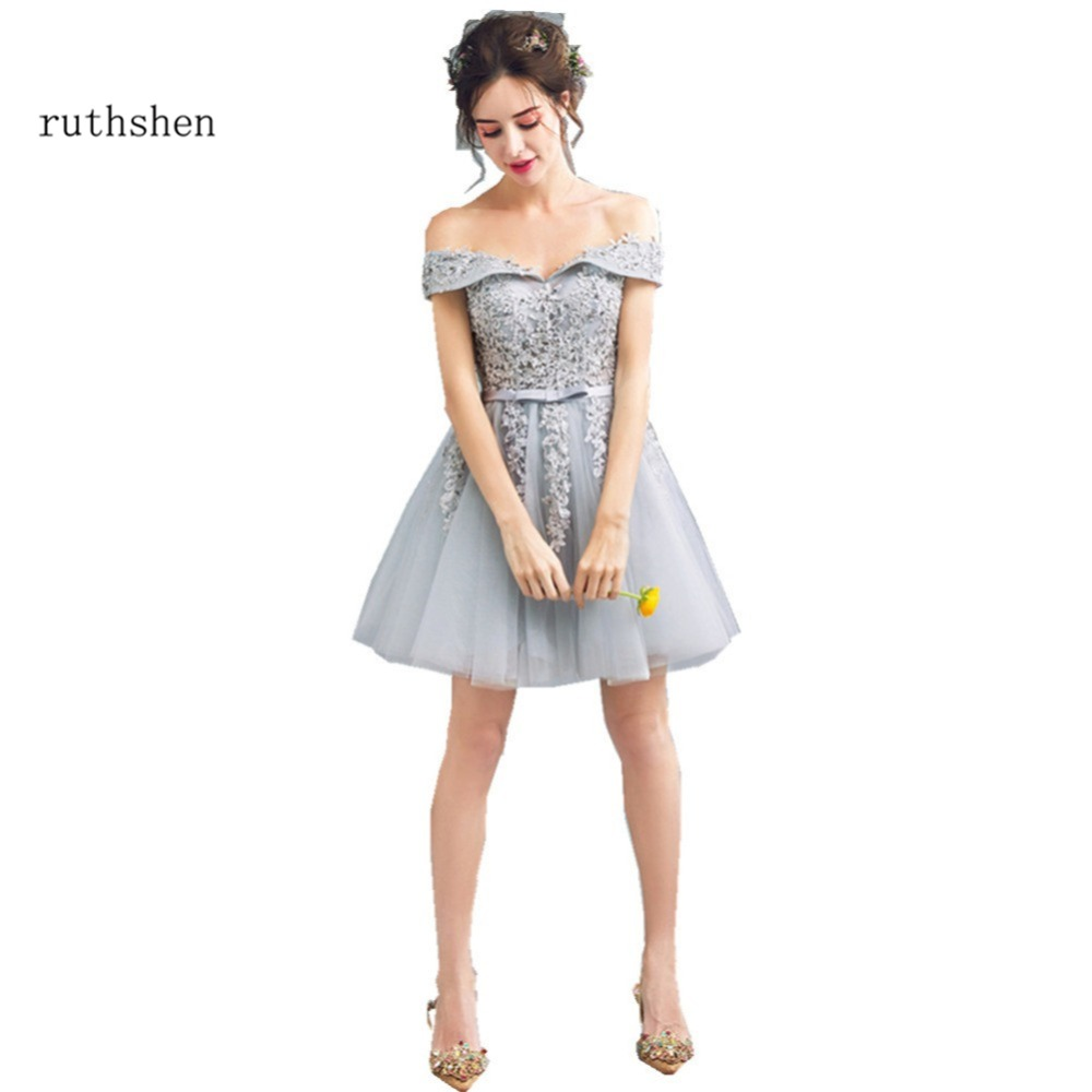 ruthshen Short Gray   Prom     Dresses   Cheap Off Shoulder Lace Appliques Beaded Ladies Formal Cocktail Party   Dress   2018