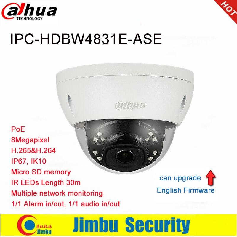 Dahua IP Camera 8MP IPC HDBW4831E ASE POE H 265 H264 IR30M Micro SD memory Smart
