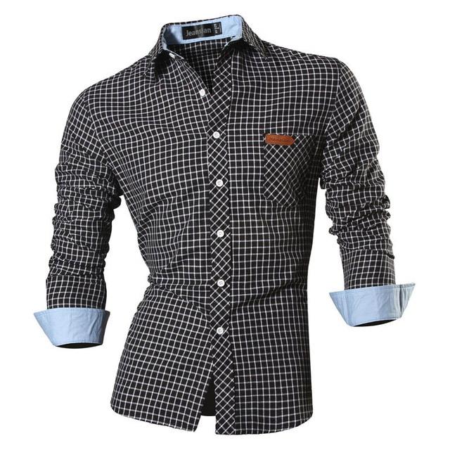 Jeansian primavera outono características camisas dos homens calças de brim casuais camisa nova chegada manga longa casual magro caber camisas masculinas 8615