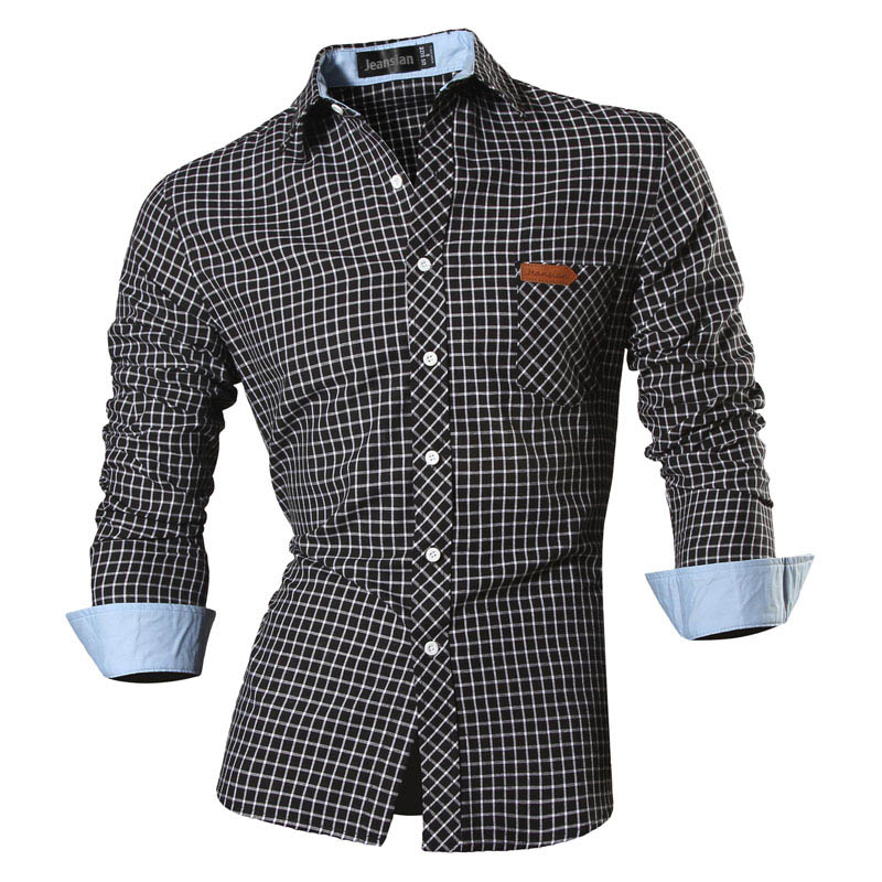 Jeansian Spring Autumn Features Shirts Men Casual Jeans Shirt New Arrival Long Sleeve Casual Slim Fit Male Shirts 8615