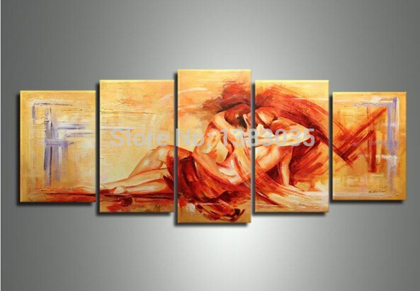 Hand Painted Modern Abstract Lovers Female And Male Nude -3465