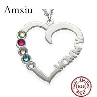 Amxiu Personalized Name Necklace 100% 925 Sterling Silver Jewelry Heart Choker Necklace with Five Birthstones Women Mother Gift