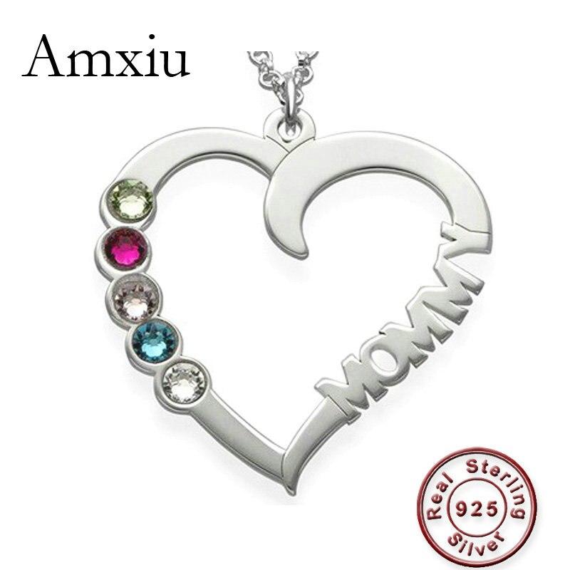 Amxiu nom personnalisé collier 100% 925 bijoux en argent Sterling coeur collier ras du cou avec cinq pierres de naissance femmes mère cadeau