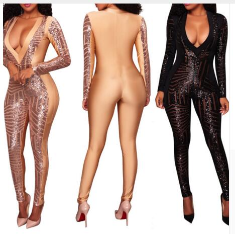Women's sexy Jumpsuit Party Costume Stage Wear Bodysuit Long sleeve Women Singer Overalls Nude Color Outfit