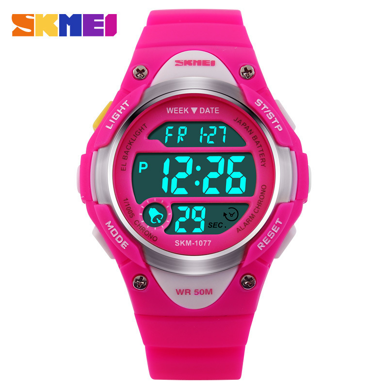 SKMEI Children Watches Cute Kids Watches Sports Cartoon Watch For Girls Boys Rubber Children's Digital LED Wristwatches Reloj