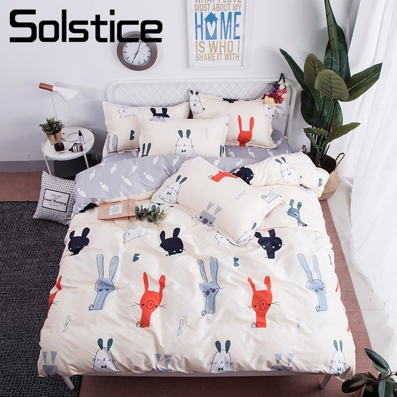 Solstice Home Textile King-Twin Bedding Sets Girls Boy Kid Teens Bedlinen Lovely Rabbit Duvet Cover Pillowcases Bed Sheet 3/4Pcs
