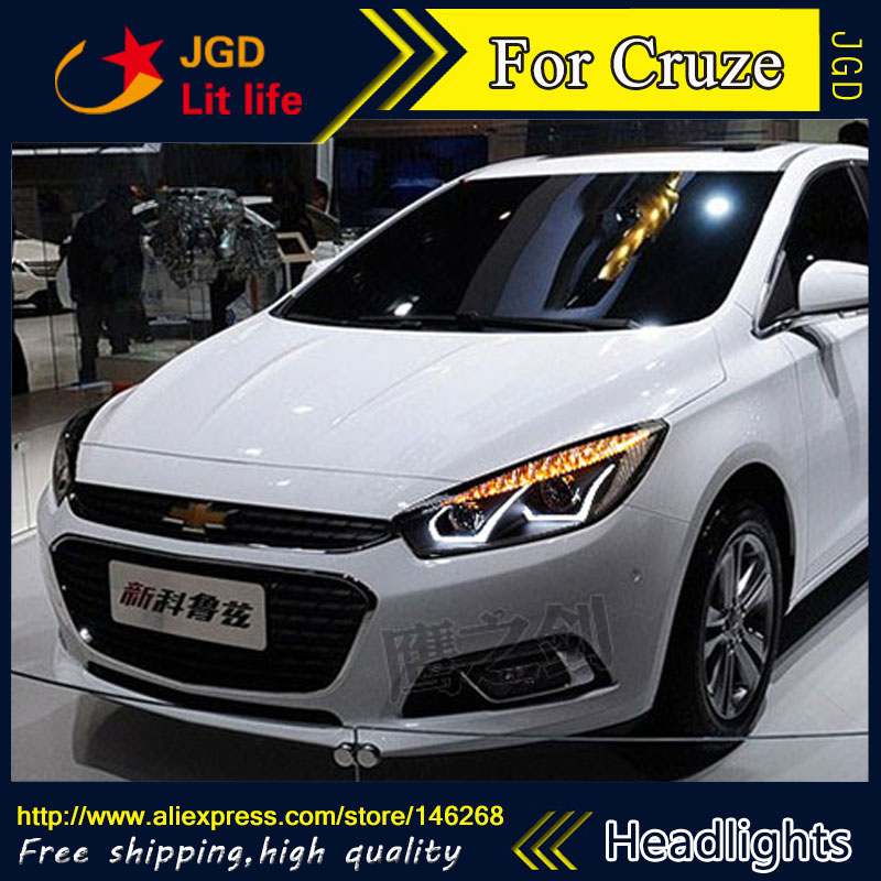Free shipping ! Car styling LED HID Rio LED headlights Head Lamp case for Chevrolet Cruze 2015 Bi-Xenon Lens low beam