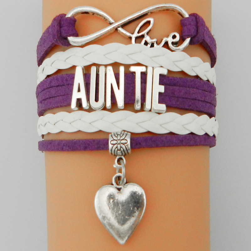 Drop Shipping Infinity Love Auntie Bracelet Heart Charm- Family Best Gift B7171