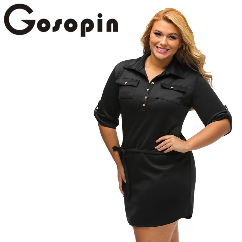 5539deb9025cb Gosopin Vintage Autumn Black Plus Size Belted Textured Shirt Dress Women  Ladies Wrap Working Dresses Styles Casual Solid LC22849-in Dresses from  Women's ...
