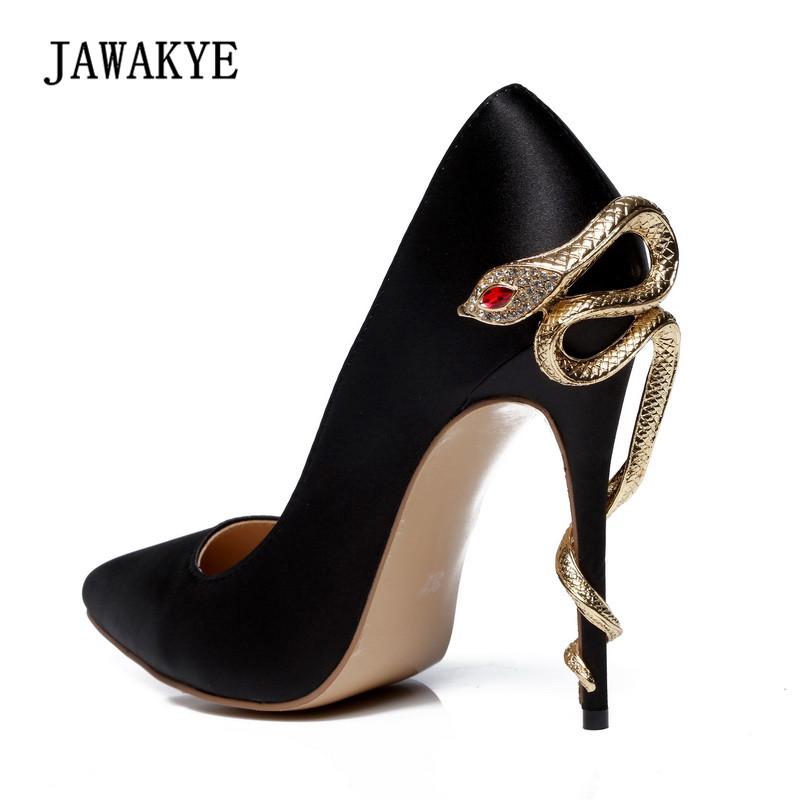 2018 Luxury Satin Wedding Shoes Woman Sexy Pointed Toe Metal Snake High Heel Shoes Lady Pumps sequined high heel stilettos wedding bridal pumps shoes womens pointed toe 12cm high heel slip on sequins wedding shoes pumps