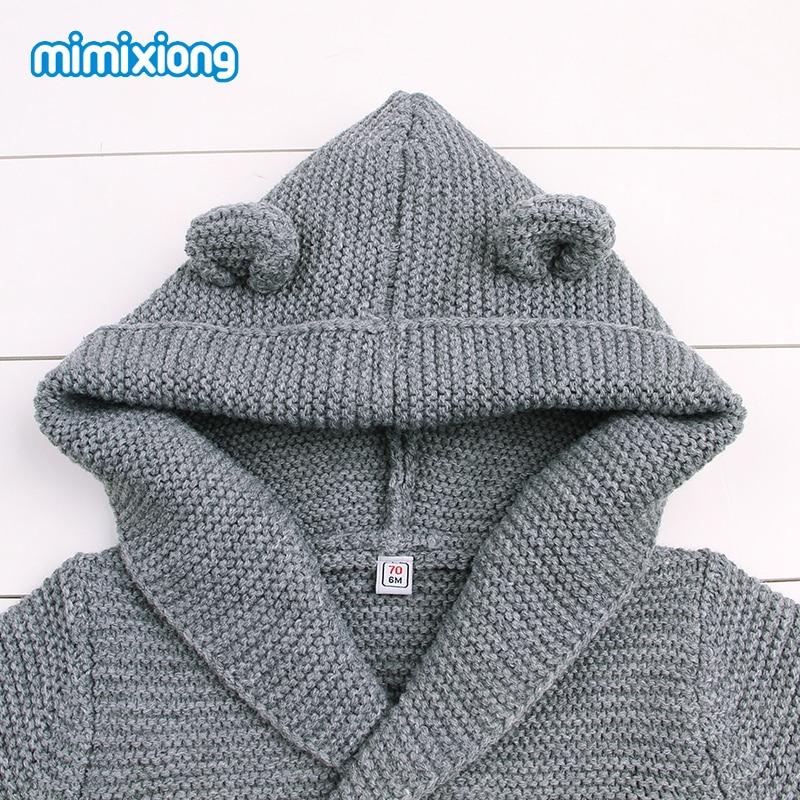 8e9fc435d878 Gray Knit Infant Newborn Cardigan Sweater Long Sleeve Winter Coat ...