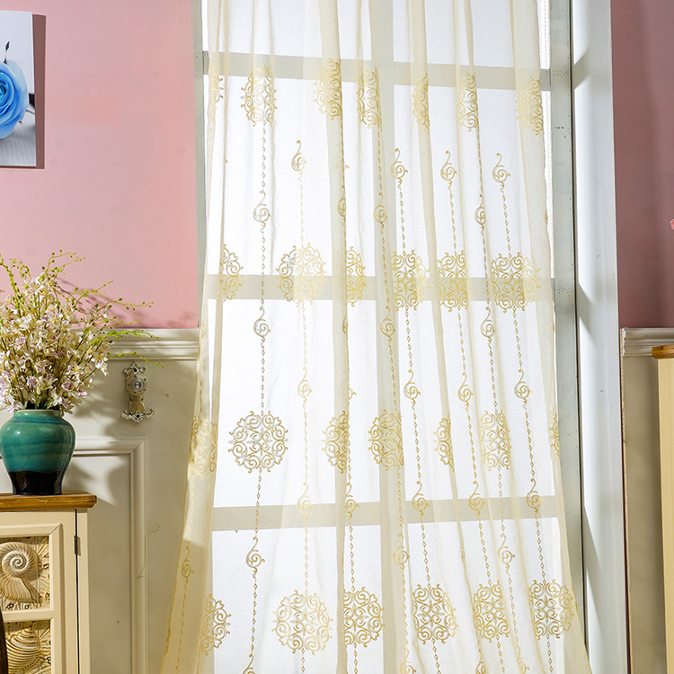 2016 Style Rural Wire Netting High Grade Contracted New Classic Embroidered  Curtains Tulle Yarn Sheer