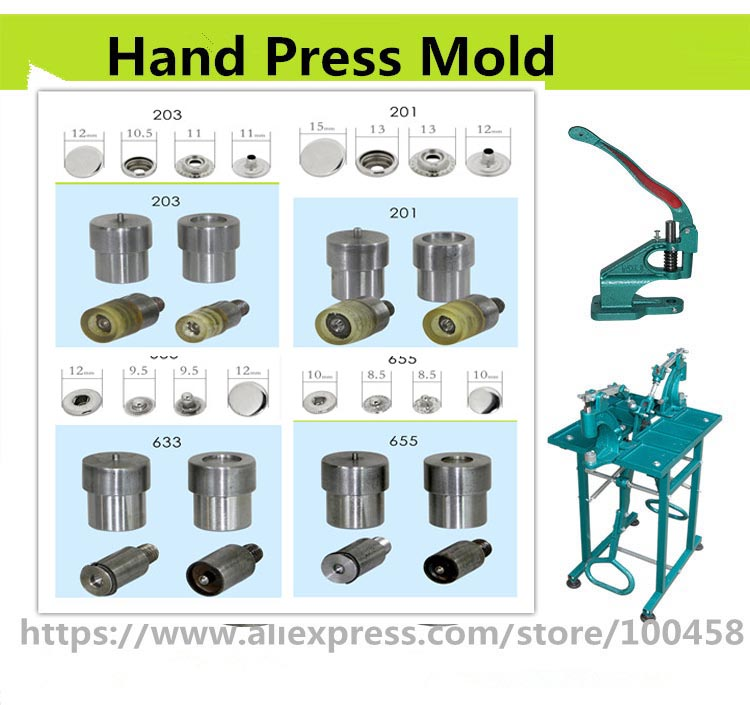 201 Metallsikring Snap Button Dies For håndlaget trykkmaskin Manuell installering Snap-knapp Mold 655, 633, 831, 203 Knappverktøy