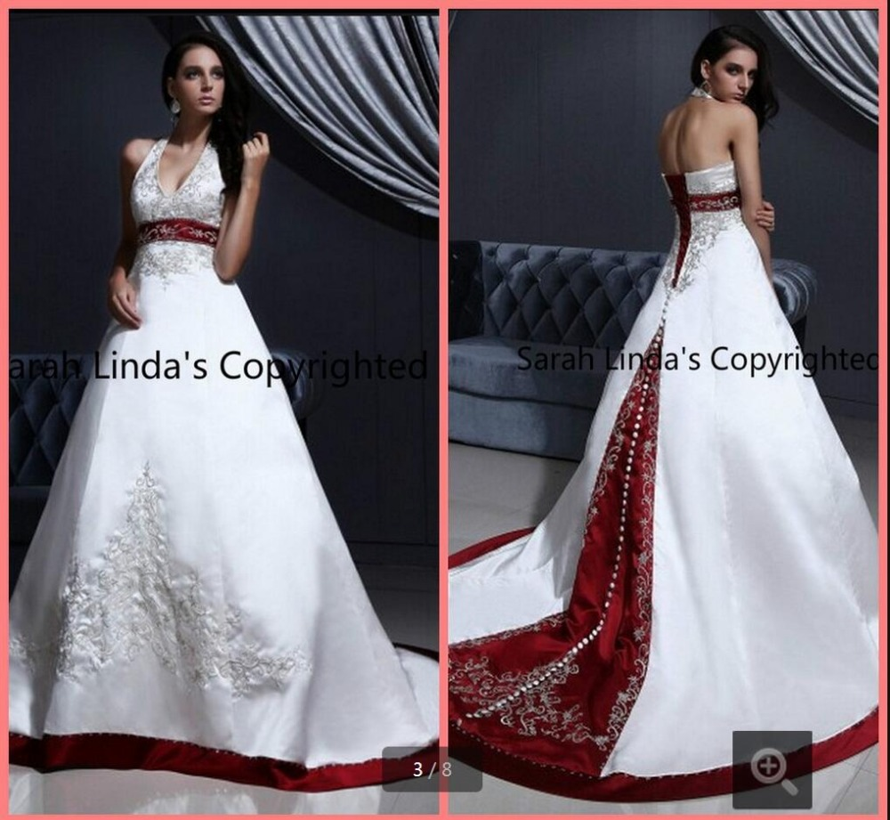 2016 amazing lace embroidery ball gown wedding dress halter neck