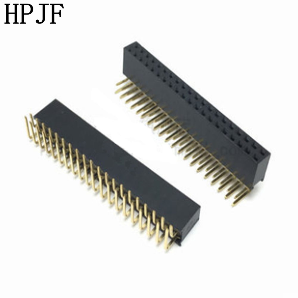 5PCS Pitch 2.54mm 2x20Pin 40 Pin Female Double Row Right Angle Straight Header Strip Connector Socket