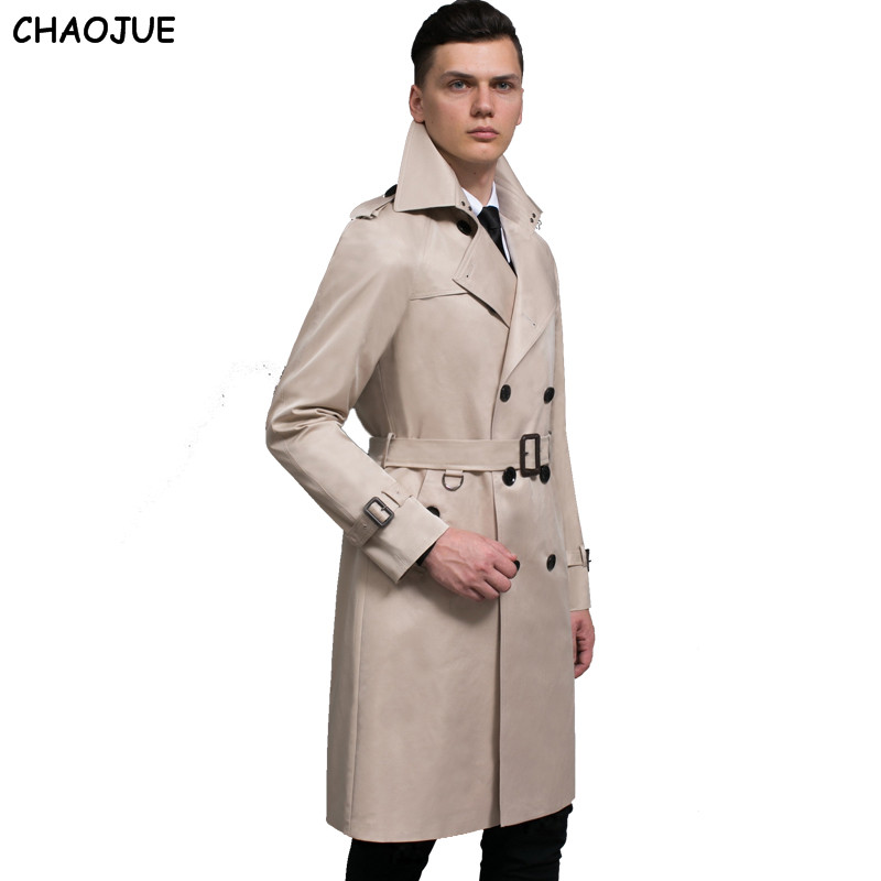 CHAOJUE Brand Customize Top Quality British double breasted mens long trench coat Europe trenchcoat jacket male coat trench