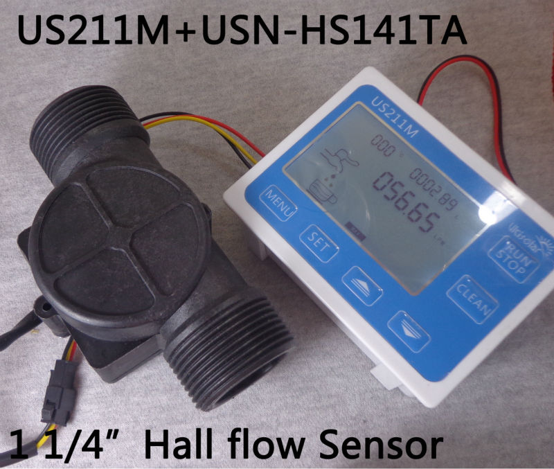 US211M Flow Meter Totalizer Flow Measurement with Nylon Water Flow Sensor USN-HS141TA G1 1/4 Hall Flow Sensor 1-150L/min us208mt flow totalizer usn hs10pa 0 5 10l min 10mm od flow meter and alarmer totalizer frequency counter hall water flow sensor