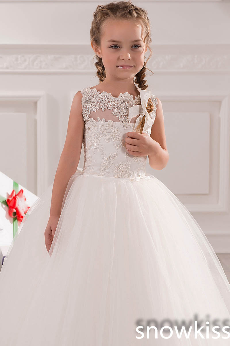 White/Ivory Tulle holy the first communion Lace Appliques Beaded Scoop Neckline Ball Gown Flower Girl Dress For Wedding Party