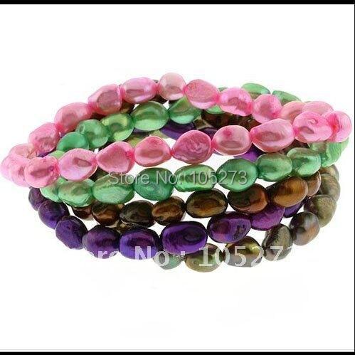 Потрясающий! жемчужный браслет AA 7-8 мм многоцветный пресноводный жемчуг эластичный браслет над shaper модные ювелирные изделия 5 шт./партия