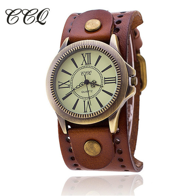 CCQ Brand Vintage Leather Bracelet Watch Antique Bronze Dial Women Wrist Watch Q