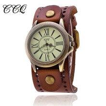 CCQ Brand Vintage Leather Bracelet Watch Antique Bronze Dial Women