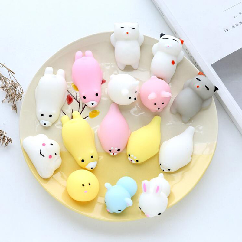 Funny Mini Handshake Toys Soft Silicone Soft Animals Cat Rubber Doll Squish Anti-stress Joke Toy Squishie