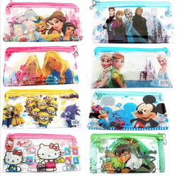 (1Pcs/Sell)  Boys & Girls Cartoon PVC Lovely Pencils Case Cosmetic School Supplies Stationery Gift Estuches Pencil Bags