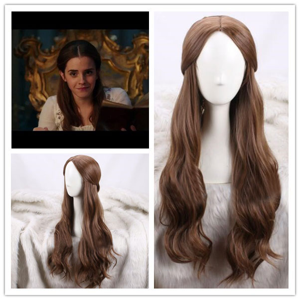 Movie Beauty and the Beast Princess Belle Brown Wig Emma Waston Wavy Wig Cosplay /Role Play Costume