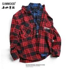 SIMWOOD מזדמן משובץ חולצה גברים 2020 אופנה ארוך שרוול מכתב מודפס חולצות Slim Fit 100% טהור כותנה Camisa Masculina 180545