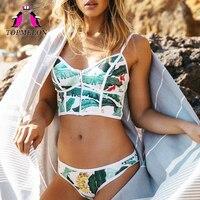 Topmelon 2017 New Sexy Bikinis Micro Swimwear Floral Print Colorful Push Up Beachwear Bathing Suit Bikini
