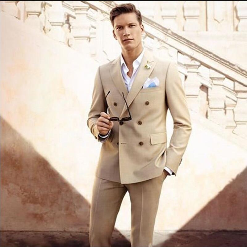 Dark Champagne Men Suits Double Breasted Men's Casual Tuxedo Custom Blazer Vestidos Men Daily Work Wear Suits 2019(Jacket+Pants)