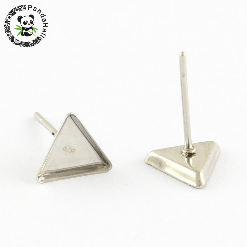 Earring Cabochon Settings 304 Stainless Steel Ear Studs Blank Components, with 316 Stainless Steel Pins, Triangle, Stainless