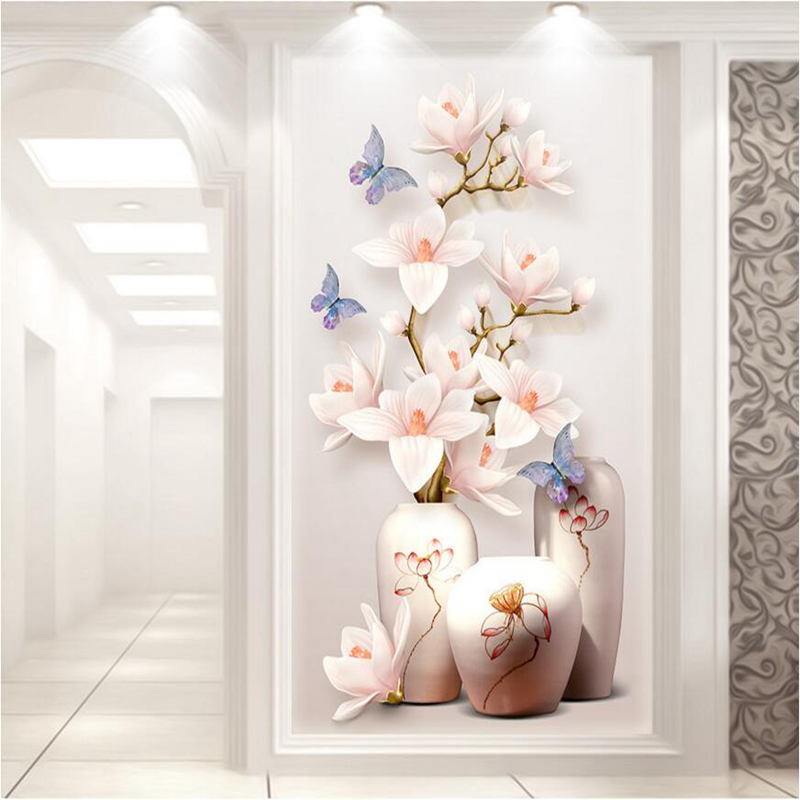 Custom HD Photo 3D Wallpaper Flower Murals flowers entrance hallway 3d wallpaper Wall paper Home Decor Kitchen Living Room vintage rose window wallpaper personalized photo wallpaper custom 3d wall murals silk art room decor kid bedroom interior design