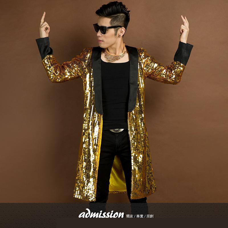 Fashion British   Trench   Men's Coats   Trench   Coat Nightclub Singer Costumes Sequins Personality Magician Overcoats Men's Clothing