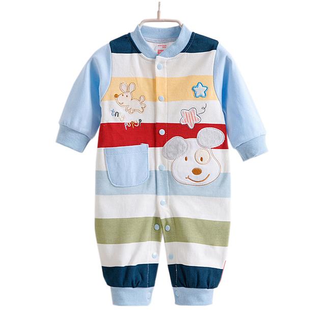 2016 Nova Outono Bebê Recém-nascido Meninas Menino Macacão Tarja Um Pedaços de Manga Longa Macacões Roupas Infantis 0-12months CL0882