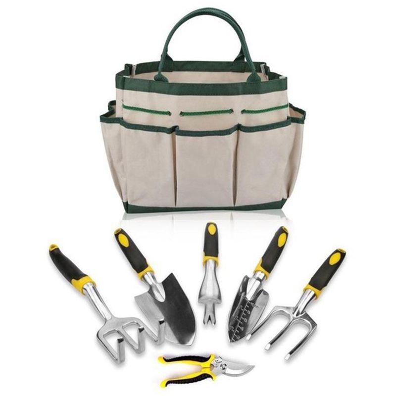 DSHA 6PCS/Set Gardening Tool Set for Digging Planting Gardening Kit with Heavy Duty Cast aluminum Heads & Ergonomic Handles