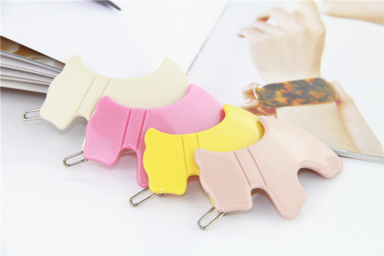 Lovey Solid Candy Color Fashion Acetate Candy Color Clip Festivals Gifts Cartoon Pink Yellow Yellow Little Dog Style Hair Decoration