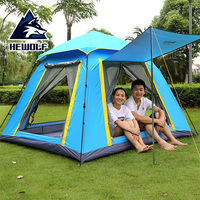 Hewolf outdoor tent 3 4 people fully automatic tent square space for more than leisure camping beach tent