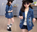 Girl Denim Jacket  Kid Spring Turn- Down Collar Coat  with High Quality Children Clothing