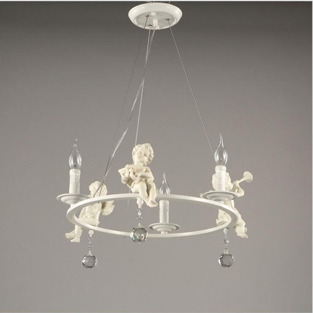 European Resin Angel Ceiling Lamps Led Living Room Dining Crystal Lamp E14