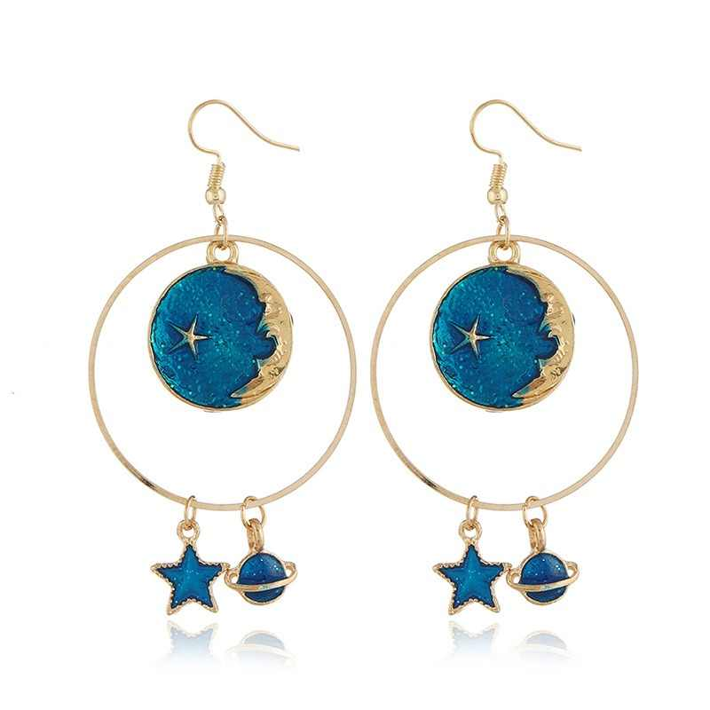 Korean Lovely Blue Enamel Drop Earrings Asymmetric Universe Planet Star Moon Long Dangle Earrings For Women Jewelry Gift