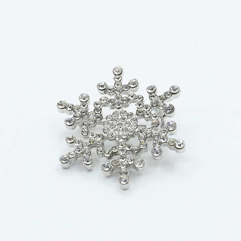 Kristal Snowflake Bros Pins Berlian Imitasi Salju Bros Emas Perak Disepuh Perhiasan Wanita Pria Pakaian Lencana Syal Aksesoris