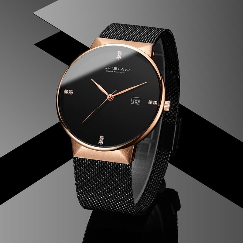 LOSIAN メンズ腕時計防水 2018 新 8 ミリメートルスリム腕時計カレンダーシルバーファッション & カジュアル腕時計メンズ腕時計男性時計 Relojes  グループ上の 腕時計 からの クォーツ時計 の中 1