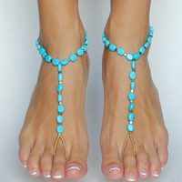 OATHYAN Bohemian Newest Blue Stone Anklet For Women Handmade Exquisite Beach Barefoot Sandals Foot Jewelry Chic Accessories