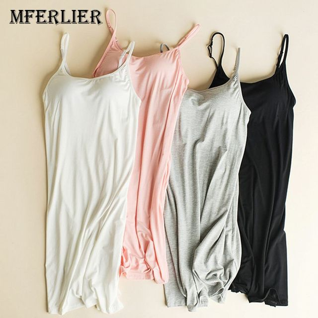 3ee12a027c9f6 Mferlier Women Padded Bra Tank Top Night Sleepwear Breathable Camisole  Cotton Tanks tops Push Up Basic Tops