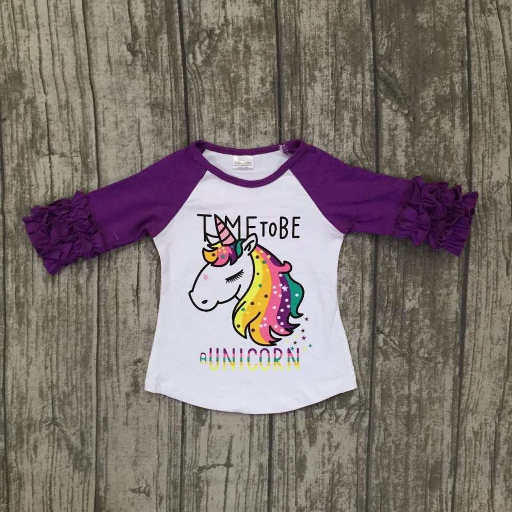 baby girls Fall boutique clothing girls time to be a unicorn raglans girl top t-shirts children clothes purple sleeve raglans пуховики boutique children s clothing 1305 2015